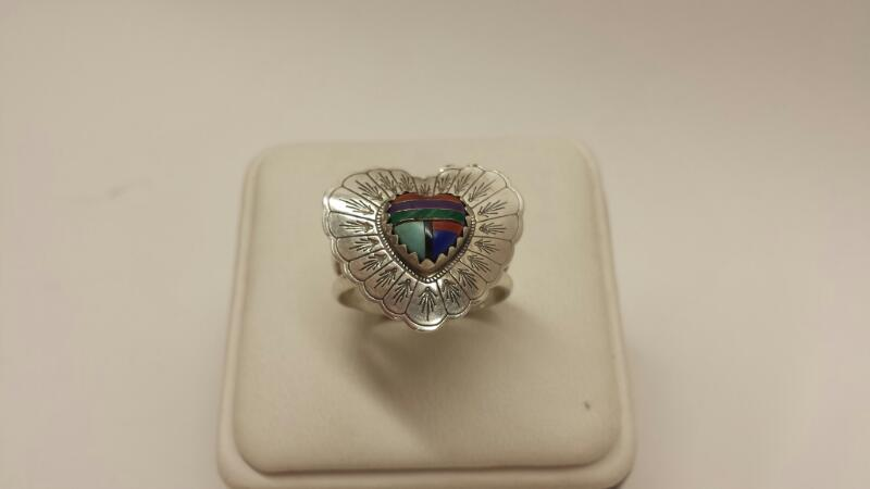 925 Silver Heart Ring with Multi Stone Heart in center - 2.6dwt - Size 8