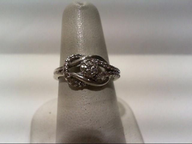 Lady's Silver-Diamond Ring 37 Diamonds .37 Carat T.W. 925 Silver 3.7g