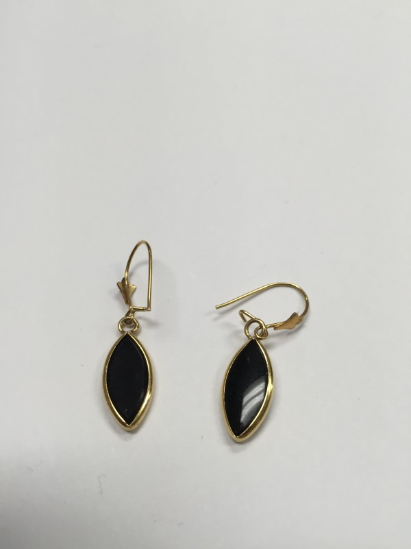 Onyx Gold-Stone Earrings 14K Yellow Gold 1.7g