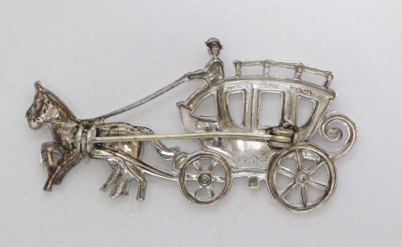 Sterling Silver Open Work Horse & Carriage Buggy Pin Brooch