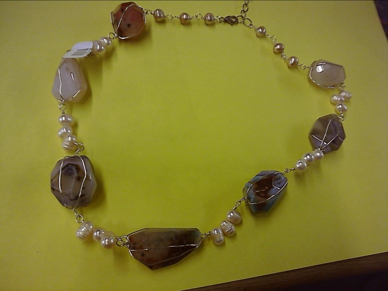 Synthetic Agate Stone Necklace 925 Silver 1dwt