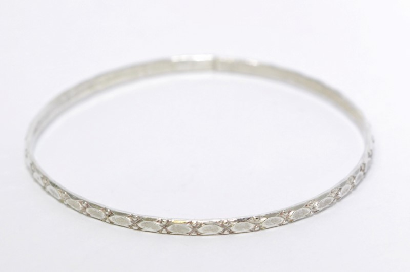 Sterling Silver Vintage Inspired Design Bangle Bracelet