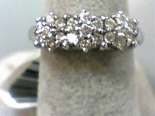 Lady's Diamond Cluster Ring 21 Diamonds .63 Carat T.W. 14K White Gold 2.6dwt