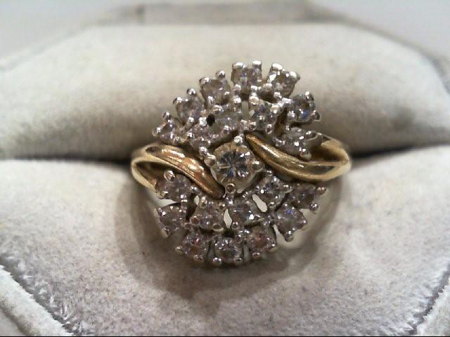 Lady's Diamond Cluster Ring 21 Diamonds 1.15 Carat T.W. 14K Yellow Gold 6.6g