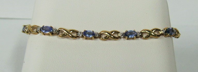 Synthetic Blue Topaz Gold-Diamond & Stone Bracelet 20 Diamonds .20 Carat T.W.