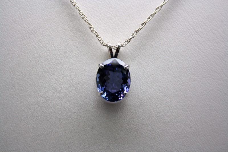 TANZANITE PENDANT 14K WHITE GOLD