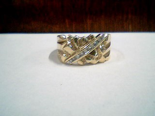 Gent's Diamond Fashion Ring 9 Diamonds .09 Carat T.W. 10K Yellow Gold 3.58g