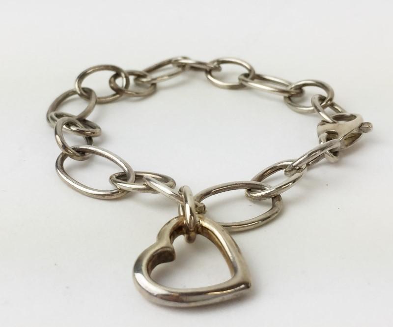 Sterling Silver Heart Bracelet 925 Silver 11.4g