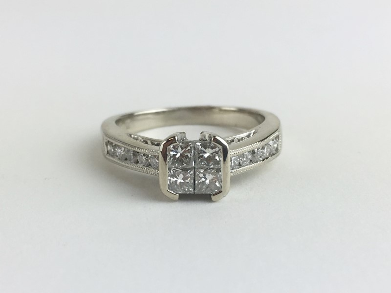 Multi Diamond Ring w 14 Diamonds .66 Carat T.W. 14K White Gold 4.6g
