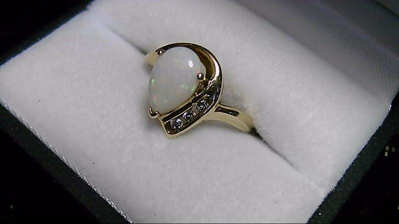 October Birthstone Opal Lady's Stone & Diamond 10K Yellow Gold Ring