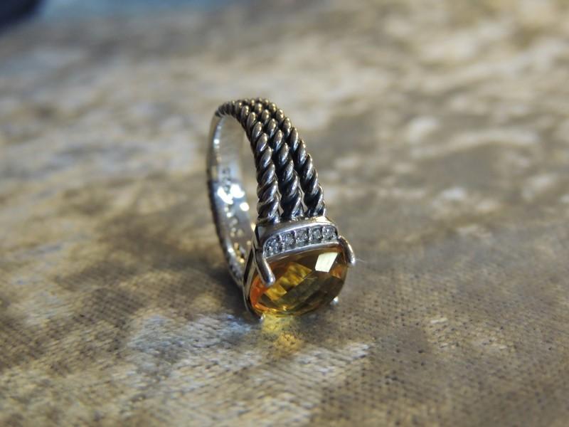 DAVID YURMAN WHEATON PETITE 10 X 8 CITRINE DIAMOND STERLING AUTHENTIC