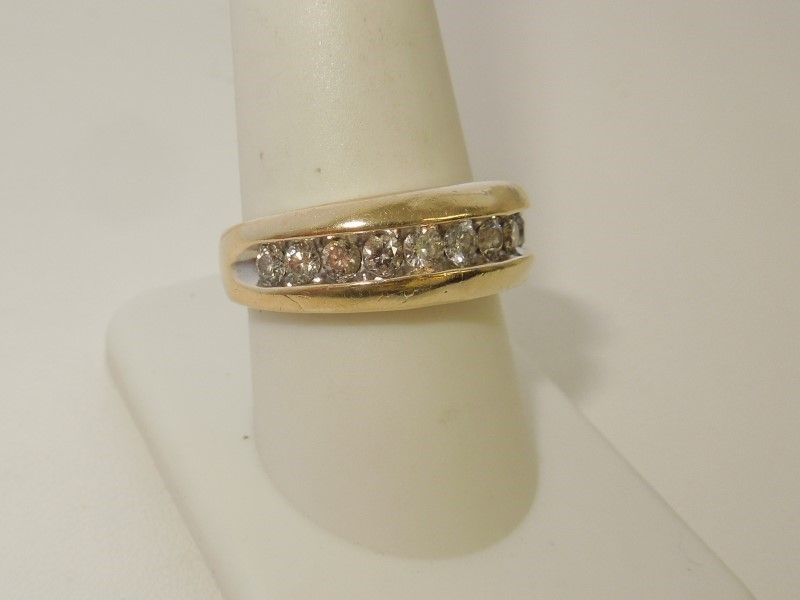 Gent's Diamond Fashion Ring 11 Diamonds .77 Carat T.W. 10K Yellow Gold 4.9g
