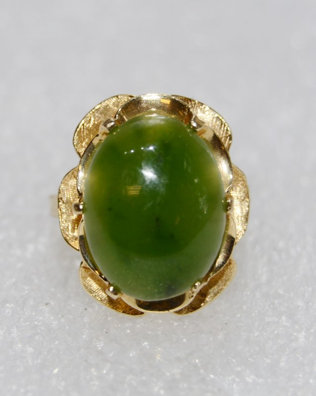 Jade Lady's Stone Ring 14K Yellow Gold 7g