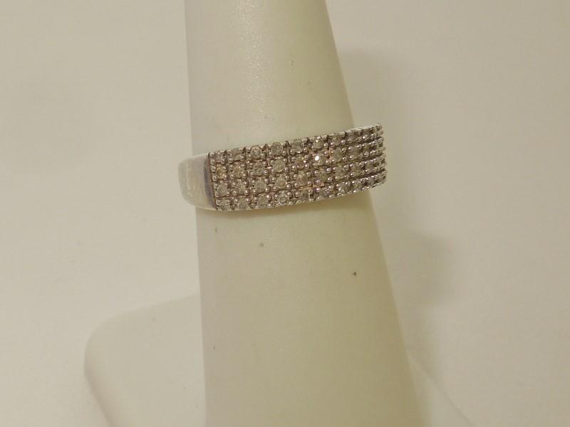 Lady's Silver-Diamond Ring 48 Diamonds .48 Carat T.W. 925 Silver 1.9g