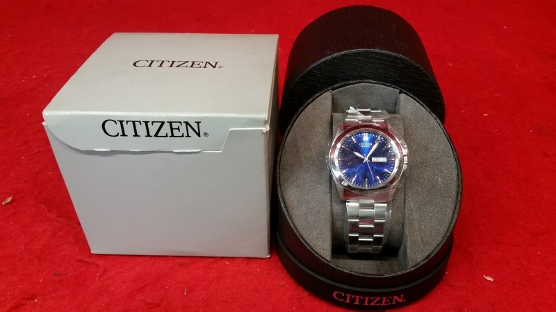Citizen BF0580-57L Men's Stainless Steel Blue Dial Casual Day Date Analog Watch