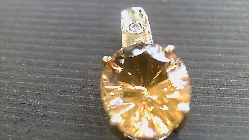 Synthetic Citrine Gold-Diamond & Stone Pendant .005 CT. 10K Yellow Gold 2.3g