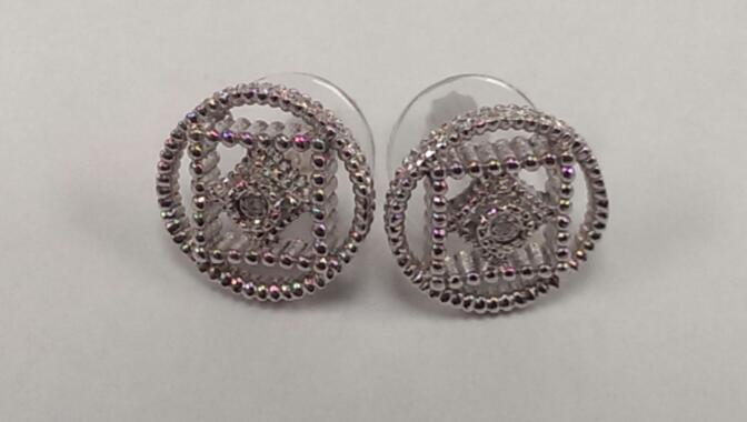 Silver-Diamond Earrings 2 Diamonds .02 Carat T.W. 925 Silver 6.3g