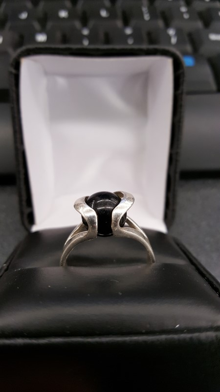 Black Stone Lady's Silver & Stone Ring 925 Silver 5.9g Size:9