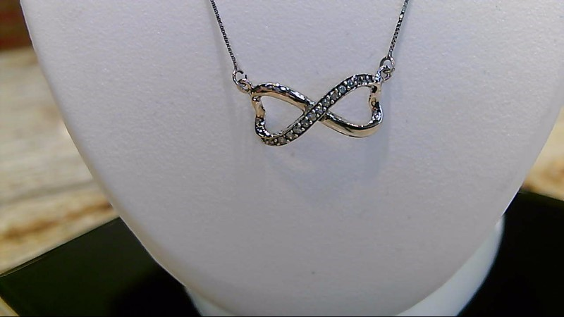 "Lady's 10k white gold apx. .10ctw diamond infinity 18"" necklace"