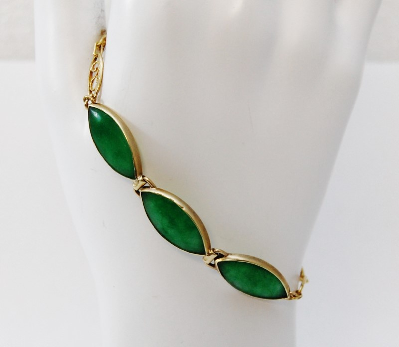 14K Yellow Gold Marquise Green Jade Filigree Chain Bracelet