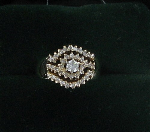 Lady's Diamond Cluster Ring 41 Diamonds .95 Carat T.W. 10K Yellow Gold 5dwt