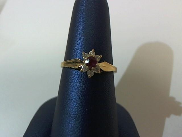 Red Stone Lady's Stone & Diamond Ring 6 Diamonds .12 Carat T.W. 14K Yellow Gold