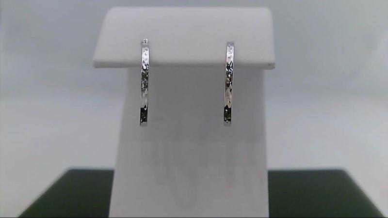 10K White Gold Diamond Cut Hoop Design Earrings