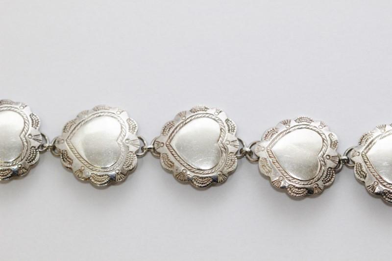 """6.5"""" Sterling Silver Etched Polished Hearts Link Bracelet"""