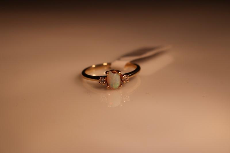 Synthetic Opal Lady's Stone & Diamond Ring 2 Diamonds .04 Carat T.W.