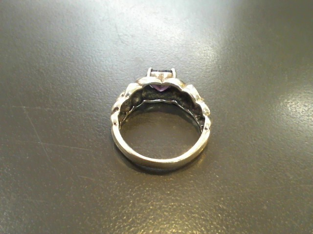 Purple Stone Lady's Silver & Stone Ring 925 Silver 4.6g Size:8