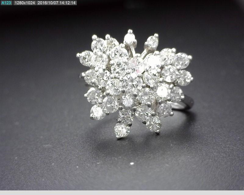 LADY'S DIAMOND CLUSTER RING 31DIAS APX.98CTW 14KWG 5G SZ6.5
