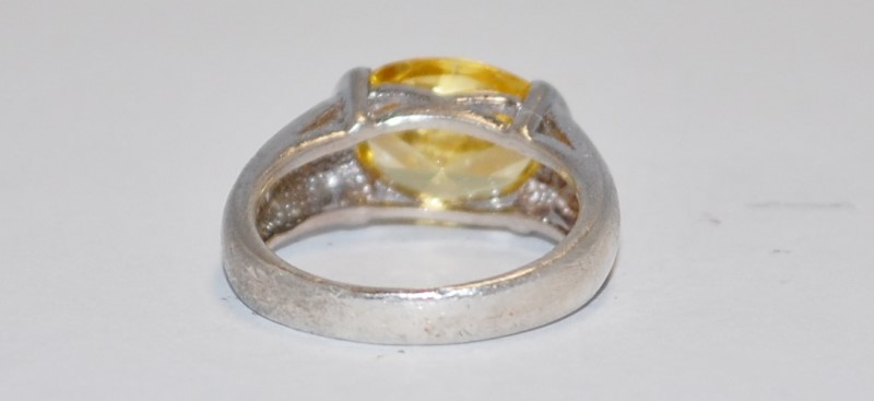 Yellow Stone Lady's Silver & Stone Ring 925 Silver 6.98g Size:8