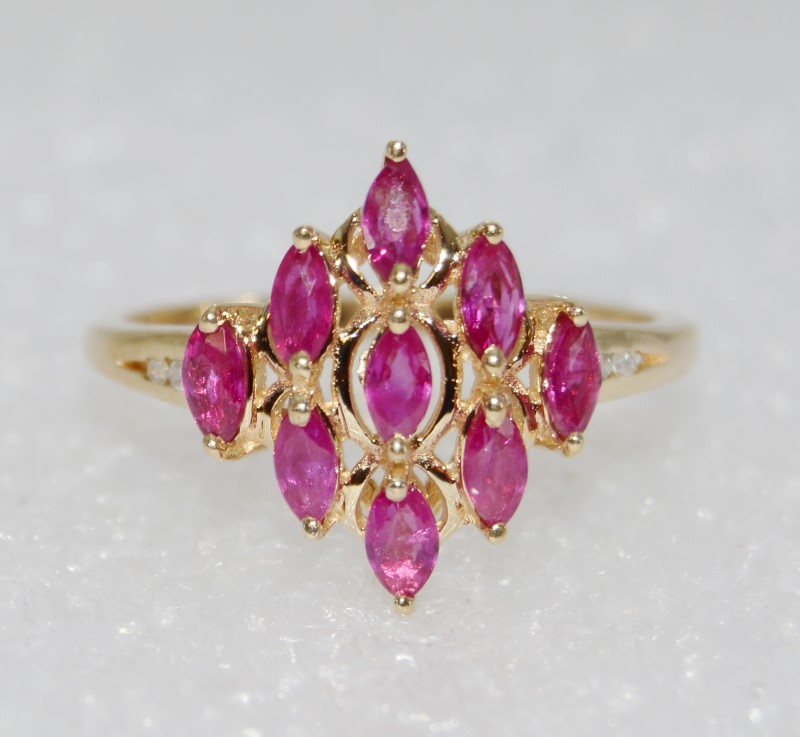 14K Yellow Gold Natural Marquise Ruby Diamond Shaped Cluster Ring sz 7