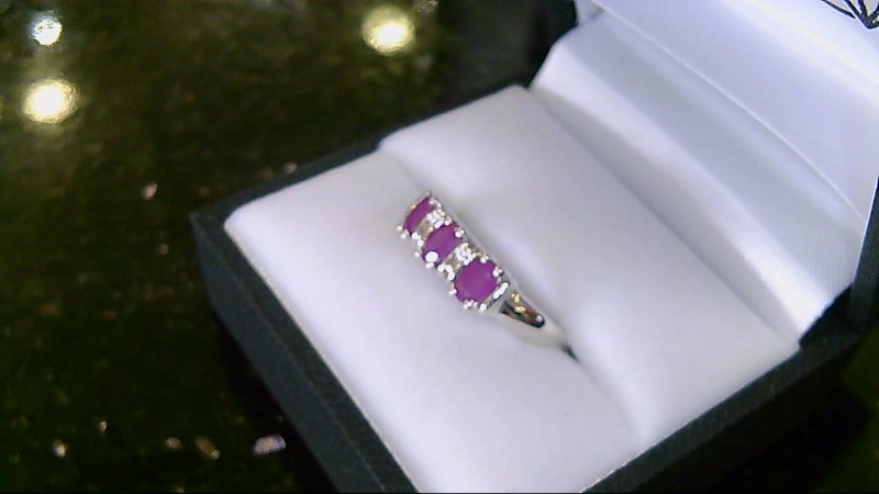 Genuine Ruby with Pink Accent Sterling Silver Ring