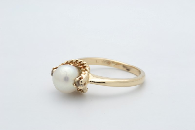ESTATE PEARL RING SOLID 14K YELLOW GOLD BRAID DETAIL DESIGN SIZE 6