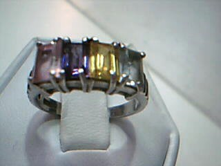 Pink Stone Lady's Silver & Stone Ring 925 Silver 3.4g