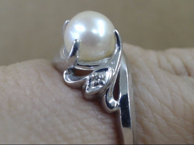 VINTAGE PEARL DIAMOND RING SOLID REAL 14K WHITE GOLD SIZE 6.5