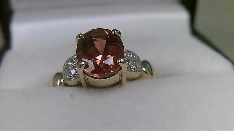 Citrine Lady's Stone & Diamond Ring 8 Diamonds .08 Carat T.W. 14K Yellow Gold