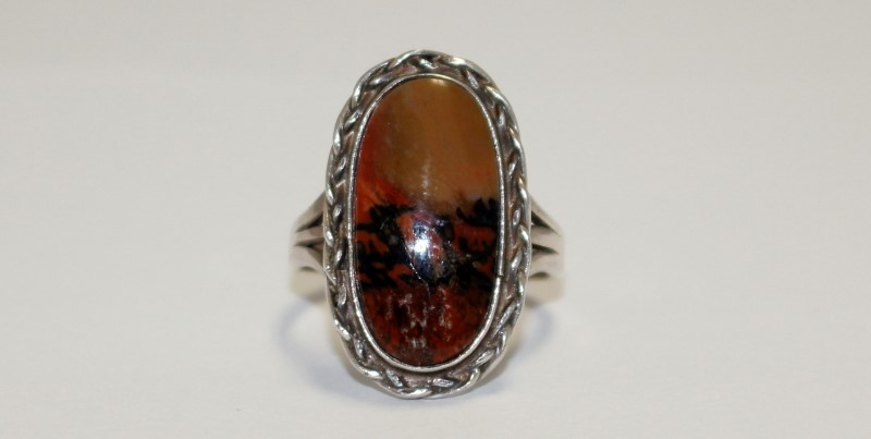Synthetic Unakite Lady's Silver & Stone Ring 925 Silver 4.51g