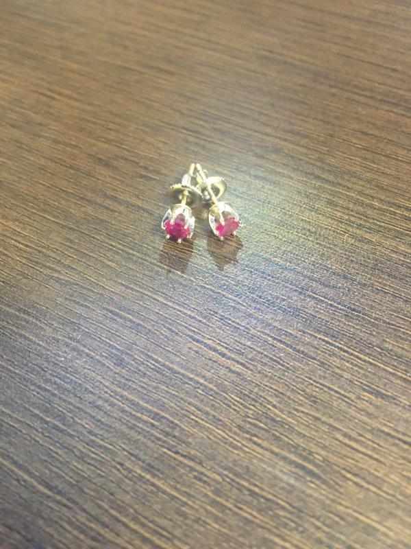 Pink Tourmaline Gold-Stone Earrings 14K White Gold 1.6g