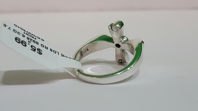 Orange Stone Lady's Silver & Stone Ring 925 Silver 6.3g Size:7.8