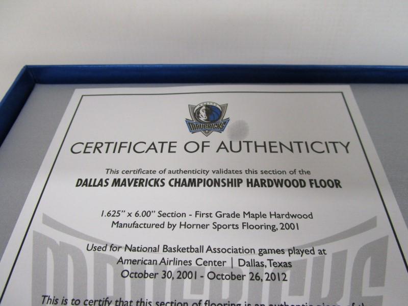 DALLAS MAVERICKS CHAMPIONSHIP HARDWOOD FLOOR, NO. 4226 OF 7500, COA