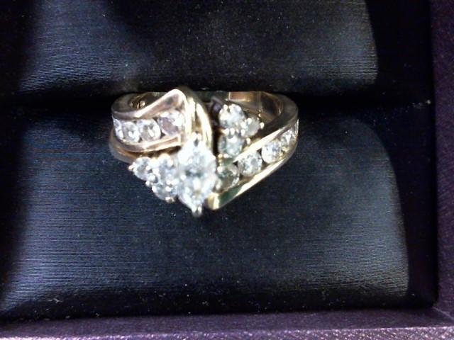 Lady's Diamond Wedding Set 21 Diamonds 1.30 Carat T.W. 14K Yellow Gold 7.8g