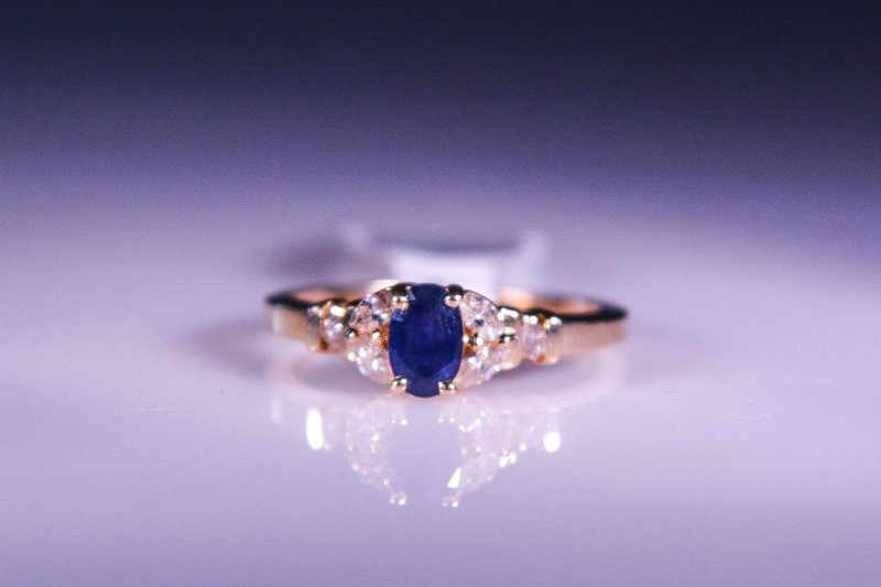 Synthetic Sapphire Lady's Stone & Diamond Ring 4 Diamonds .04 Carat T.W.