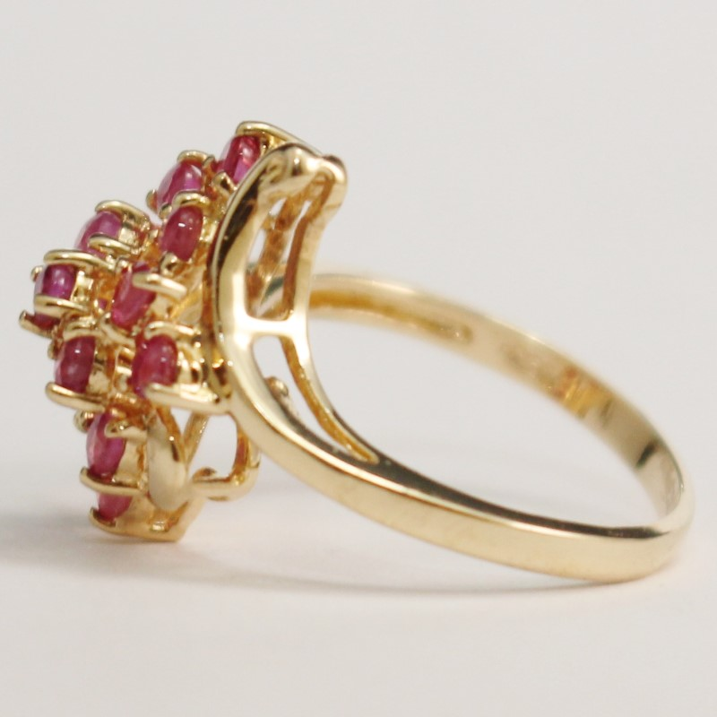 10K Yellow Gold Round Cut Pink Sapphire Cluster Ring SIze 6