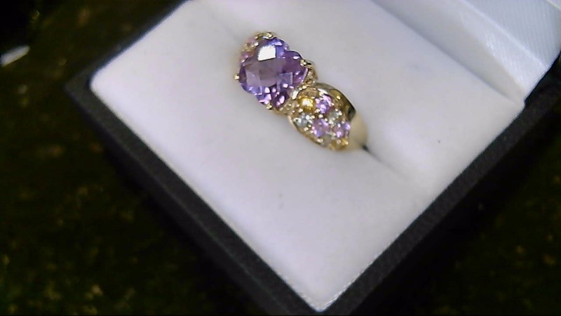 Lady's 10k yellow gold cushion amethyst with pink green, yellow stones ring
