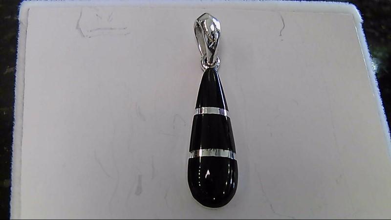 Lady's sterling silver 925 black silver tear drop pendant