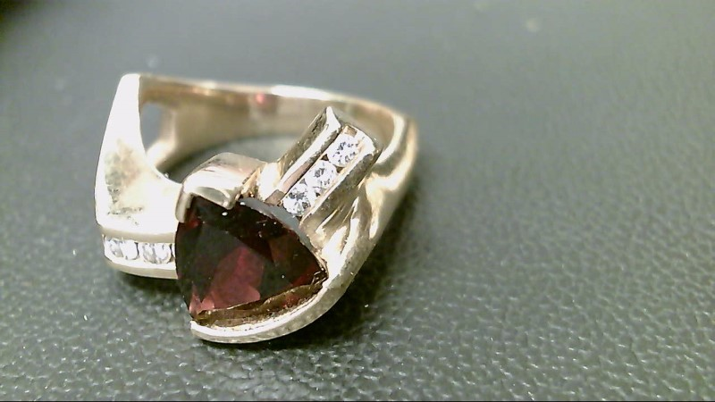 Almandite Garnet Lady's Stone & Diamond Ring 7 Diamonds .32 Carat T.W.