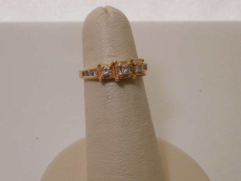 Lady's Diamond Engagement Ring 9 Diamonds .36 Carat T.W. 14K Yellow Gold 2.1g