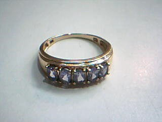 Synthetic Tanzanite Lady's Stone Ring 10K Yellow Gold 2.2g